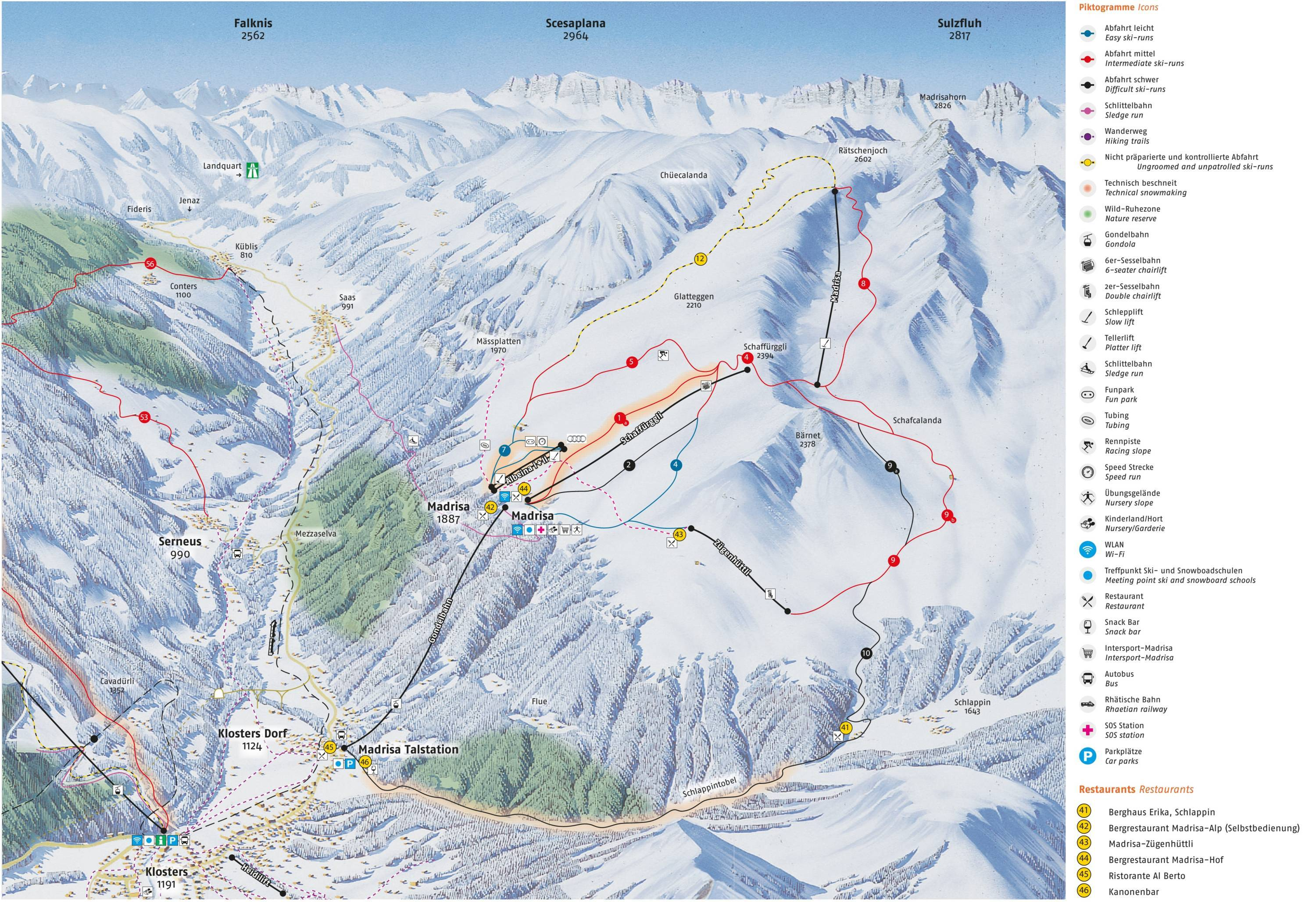 Trail map Madrisa Davos Klosters