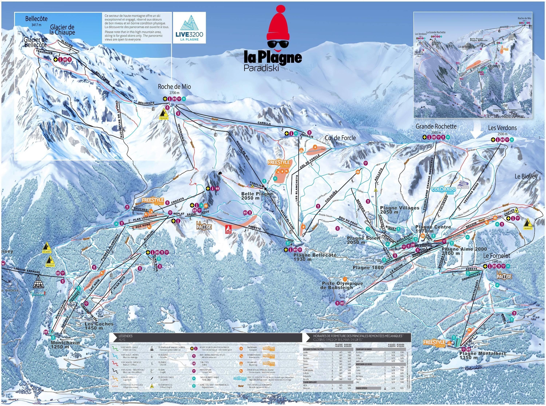 Trail map La Plagne Paradiski