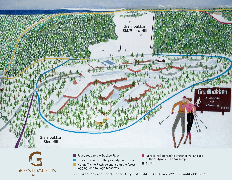 Skiing In California Map.Trail Map Granlibakken