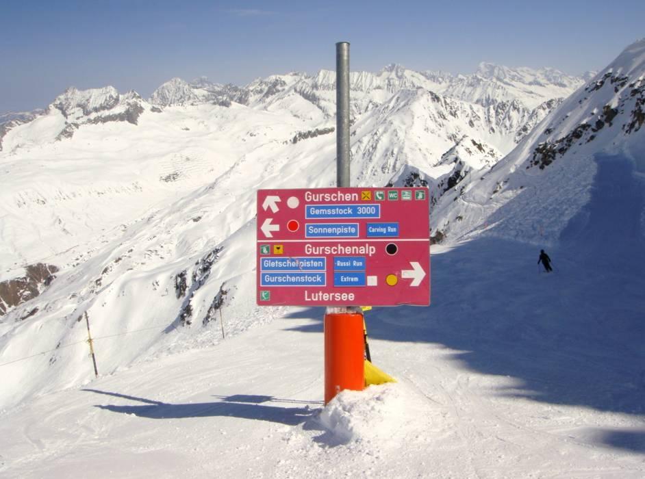 Orientation Gemsstock Andermatt information boards sign