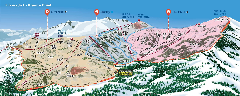 trail map squaw valley - squaw valley  silverado to granite chief