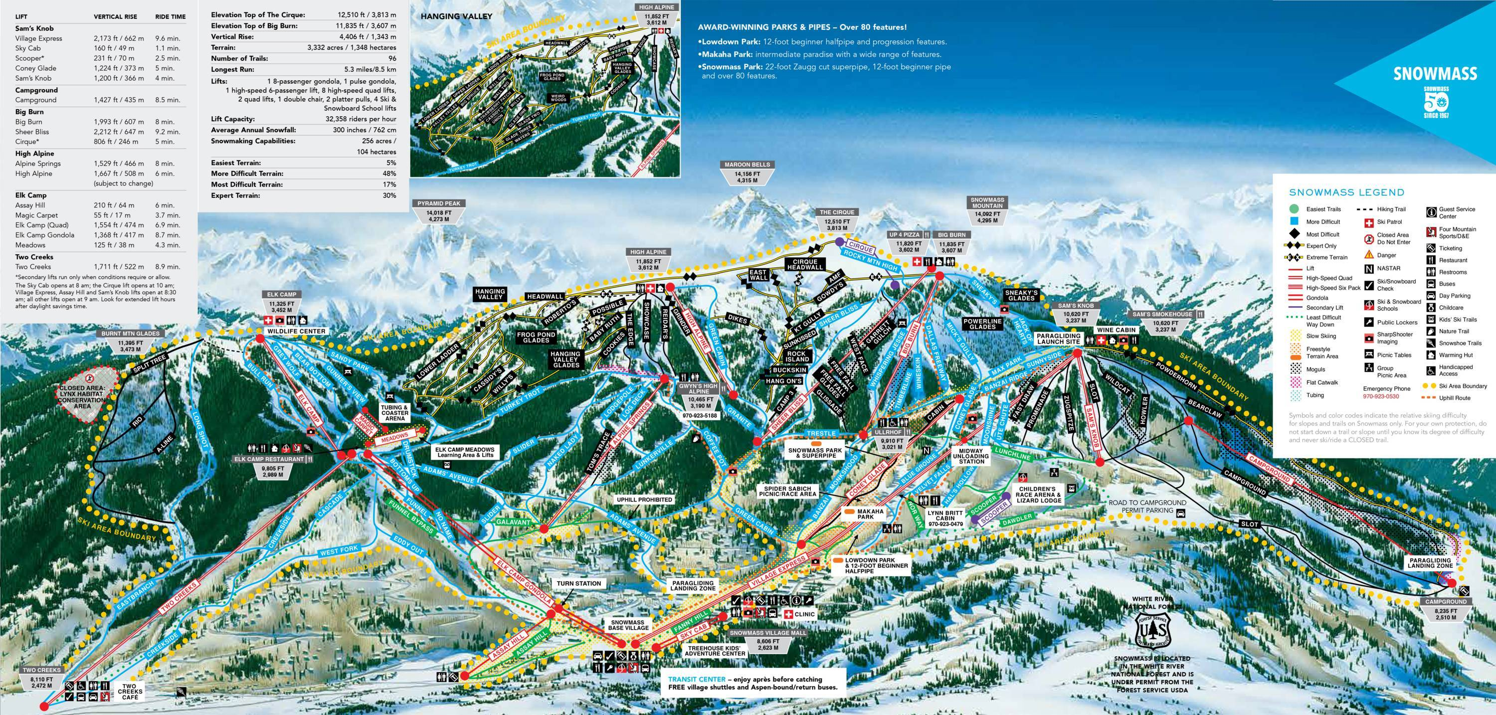Skiing Virginia Map.Trail Map Snowmass