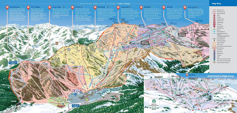 trail map squaw valley - trail map squaw valley  silverado to granite chief season
