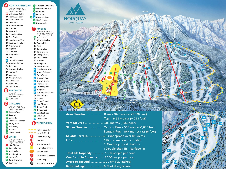 trail map mt. norquay – banff