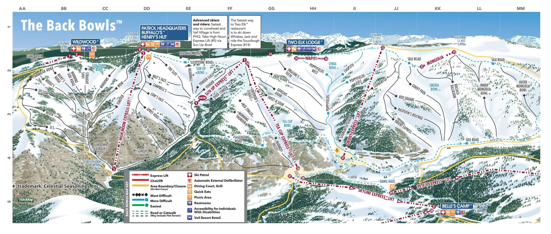trail map vail back bowls season . trail map vail
