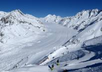 ski resort Aletsch Arena - Slope from the Eggishorn with a view of the Aletsch Glacier