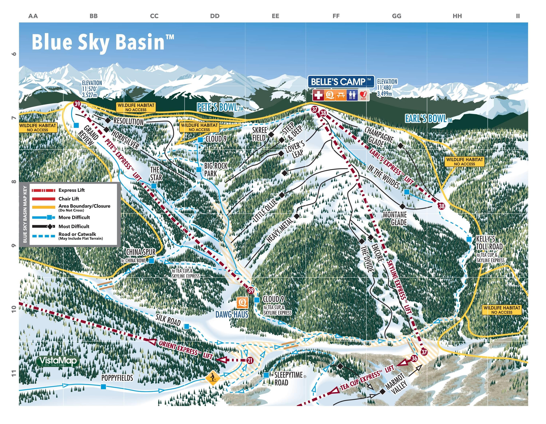 trail map vail blue sky basin season . trail map vail