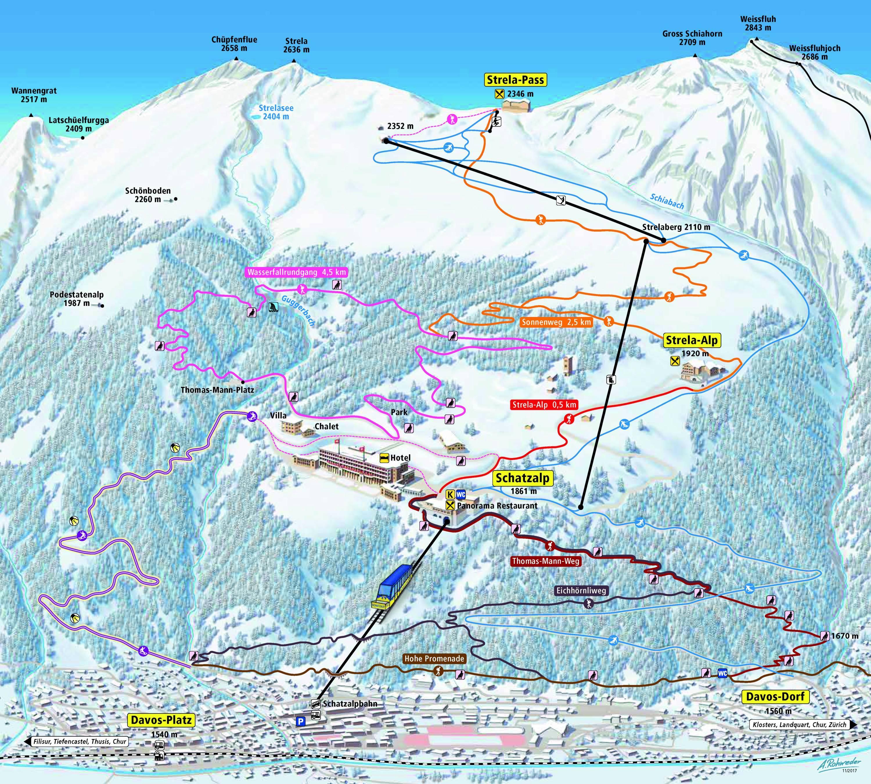 Trail map Schatzalp – Strela