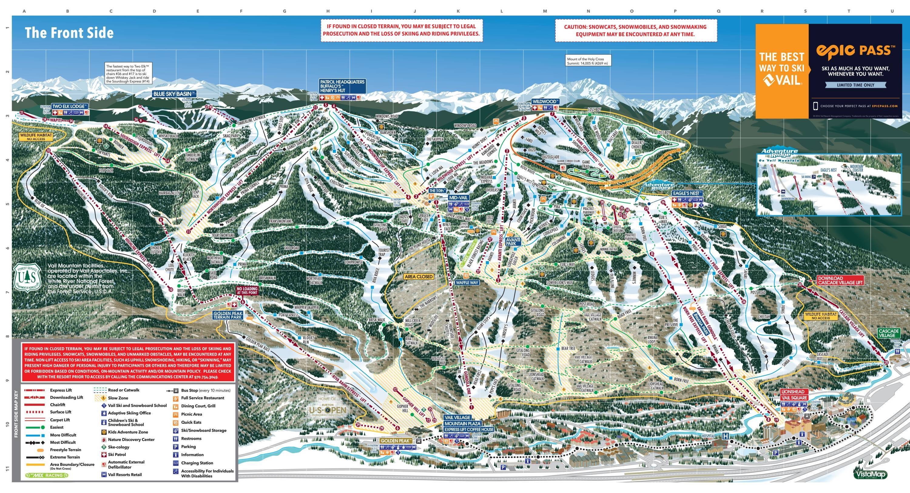 Skiing Virginia Map.Trail Map Vail