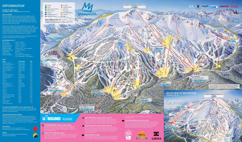 mammoth mountain. trail map mammoth mountain