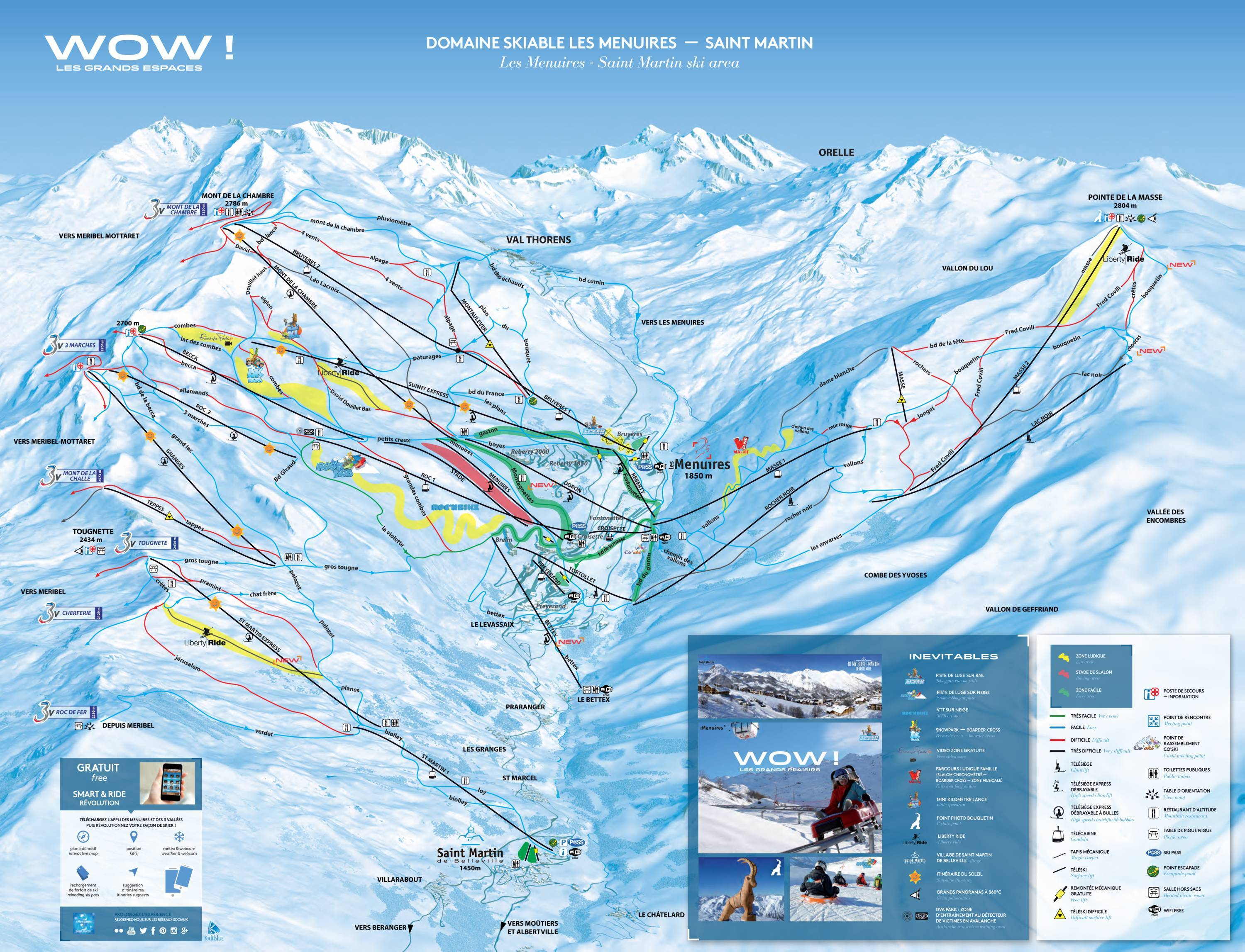 Trail map Les 3 Valles Val ThorensLes MenuiresMribelCourchevel