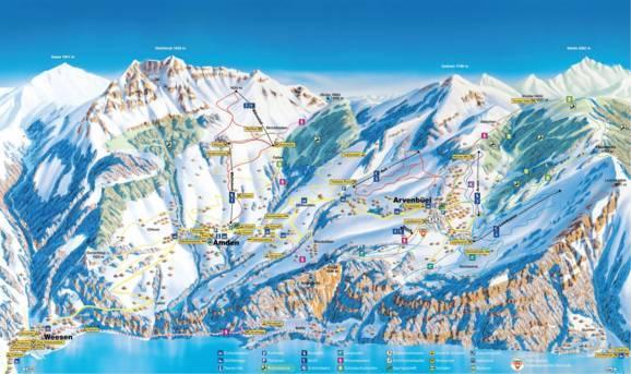 Map 0f Europe.Trail Map Amden Arvenbuel Mattstock