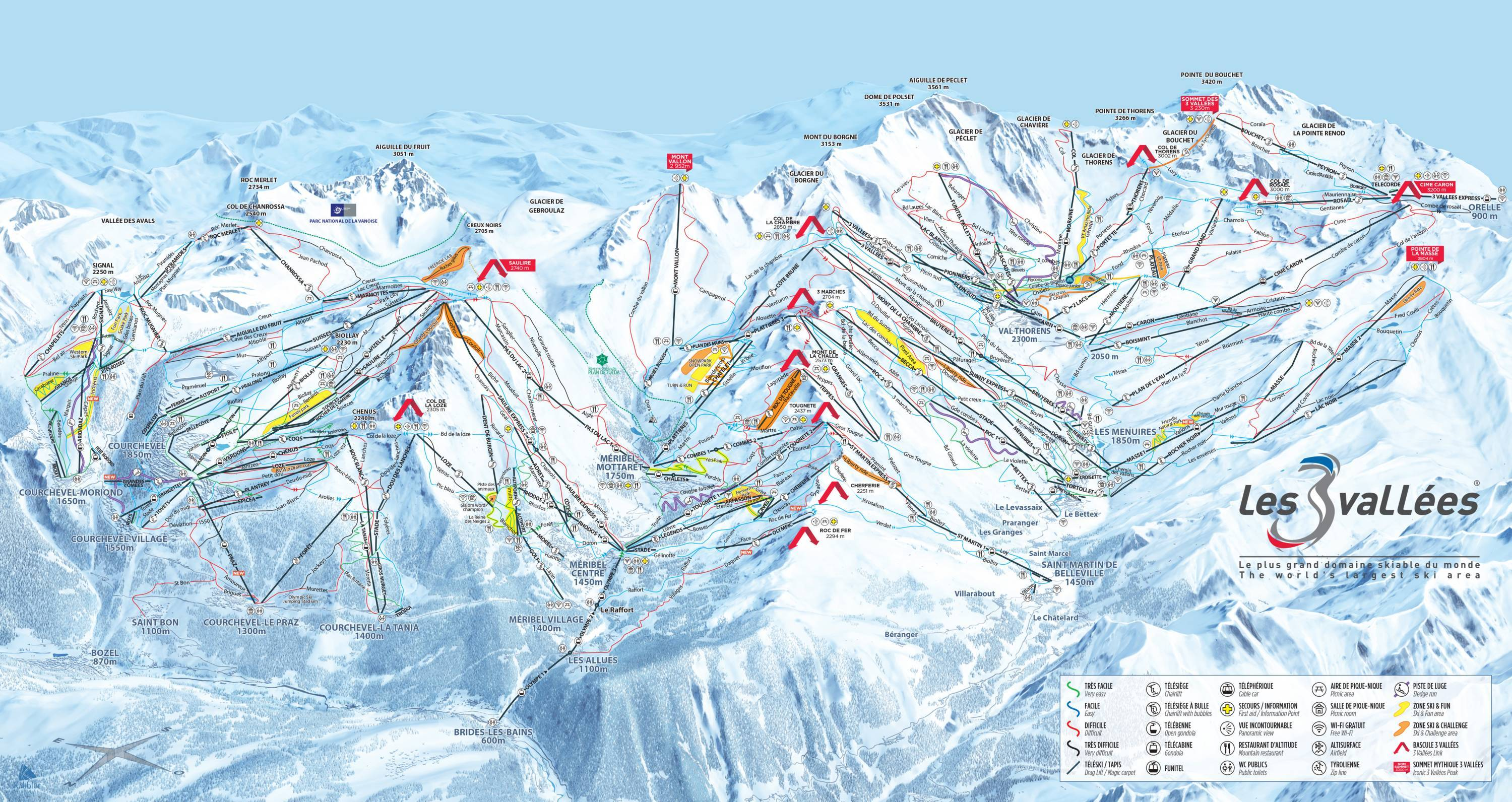 Trail Map Les 3 Vallees Val Thorens Les Menuires Meribel Courchevel