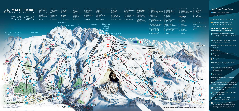 Trail Map Zermatt Breuil Cervinia Valtournenche Matterhorn