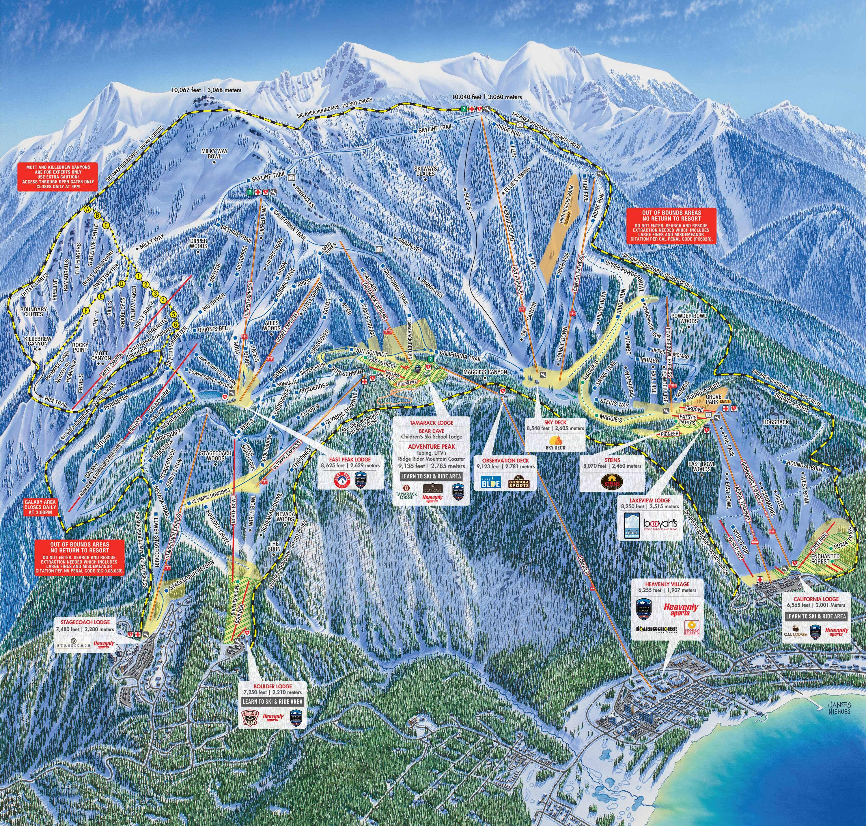 lake tahoe piste map Trail Map Heavenly lake tahoe piste map
