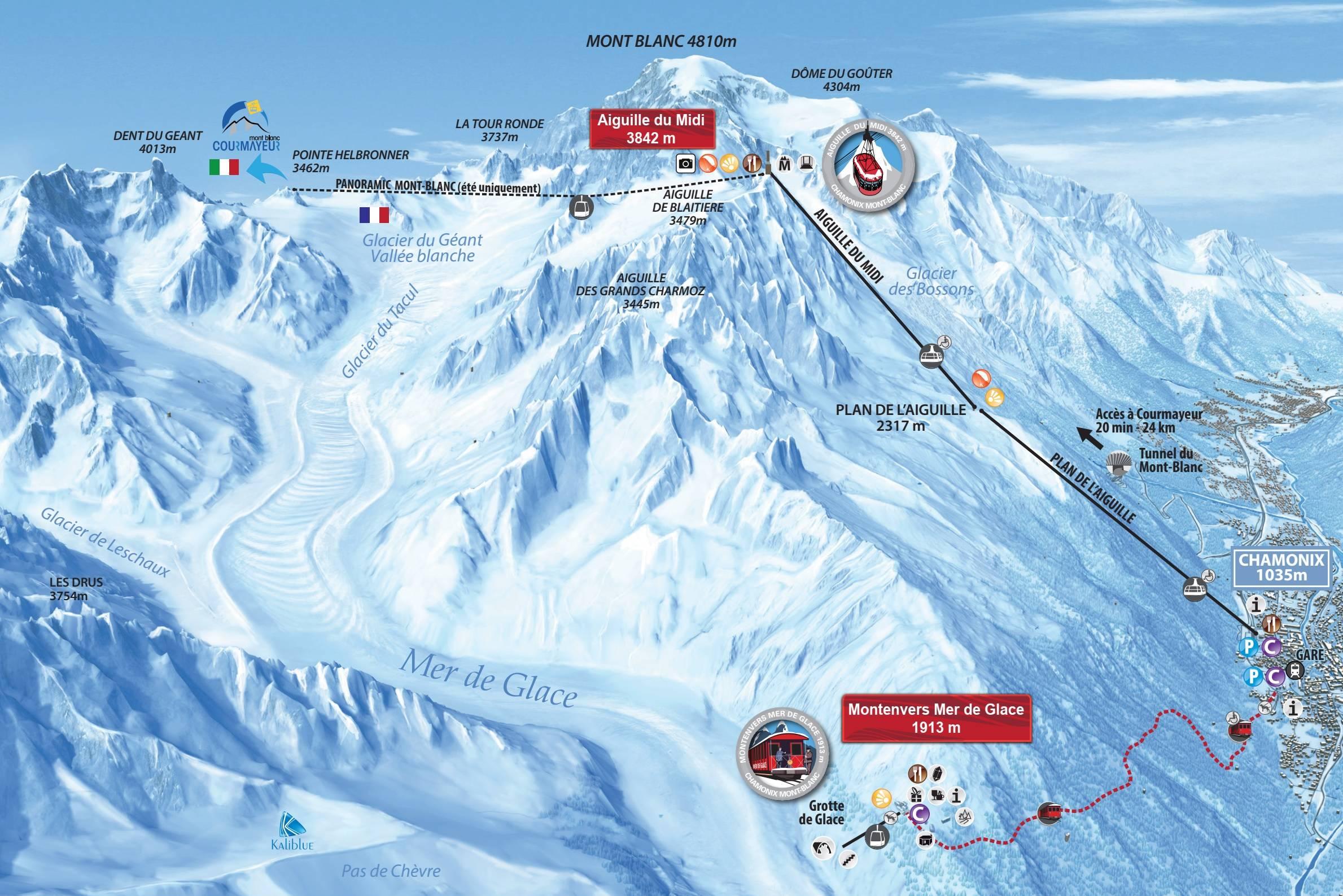 Trail Map Aiguille Du Midi Chamonix