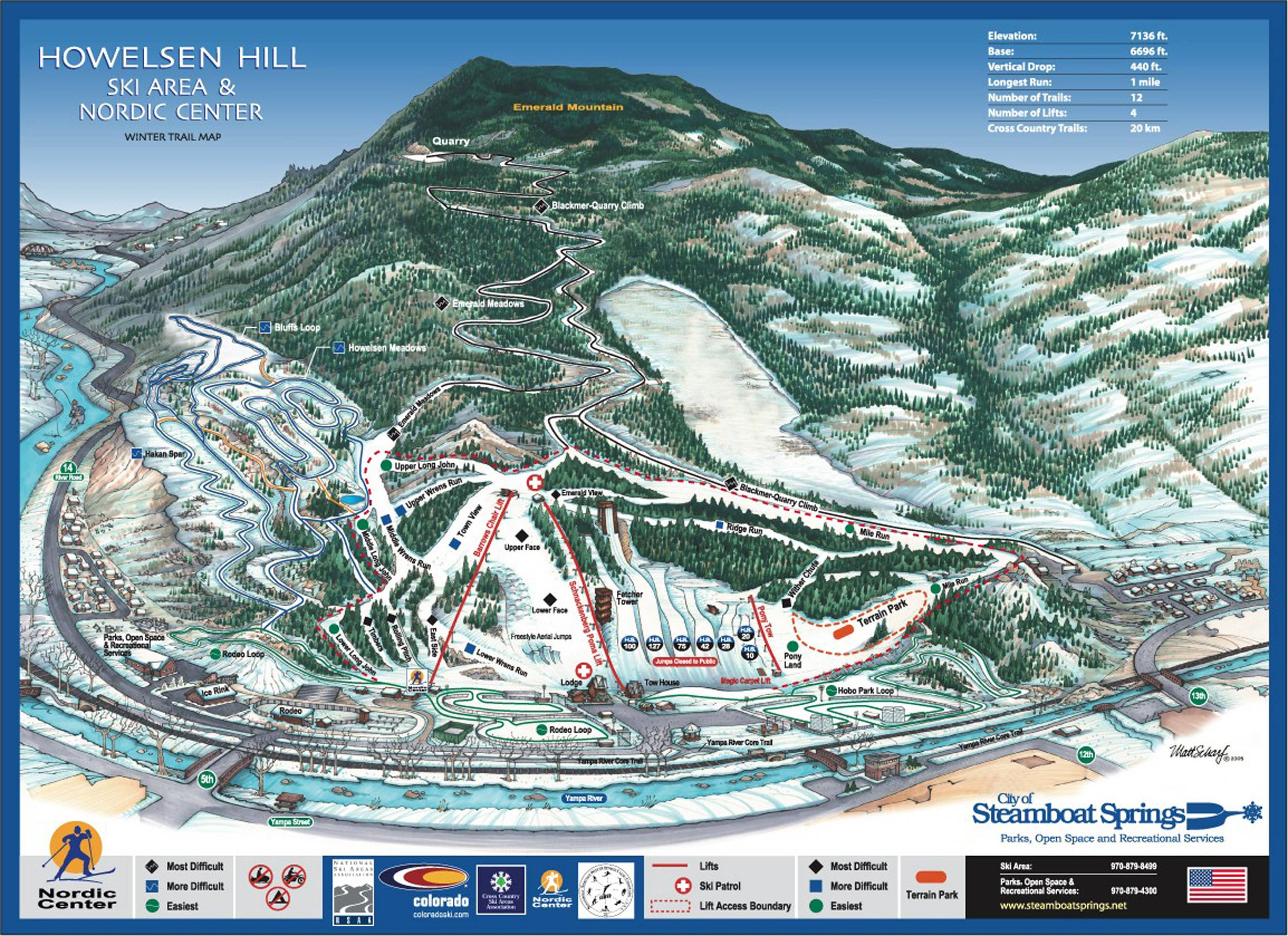 Trail map Howelsen Hill – Steamboat Springs