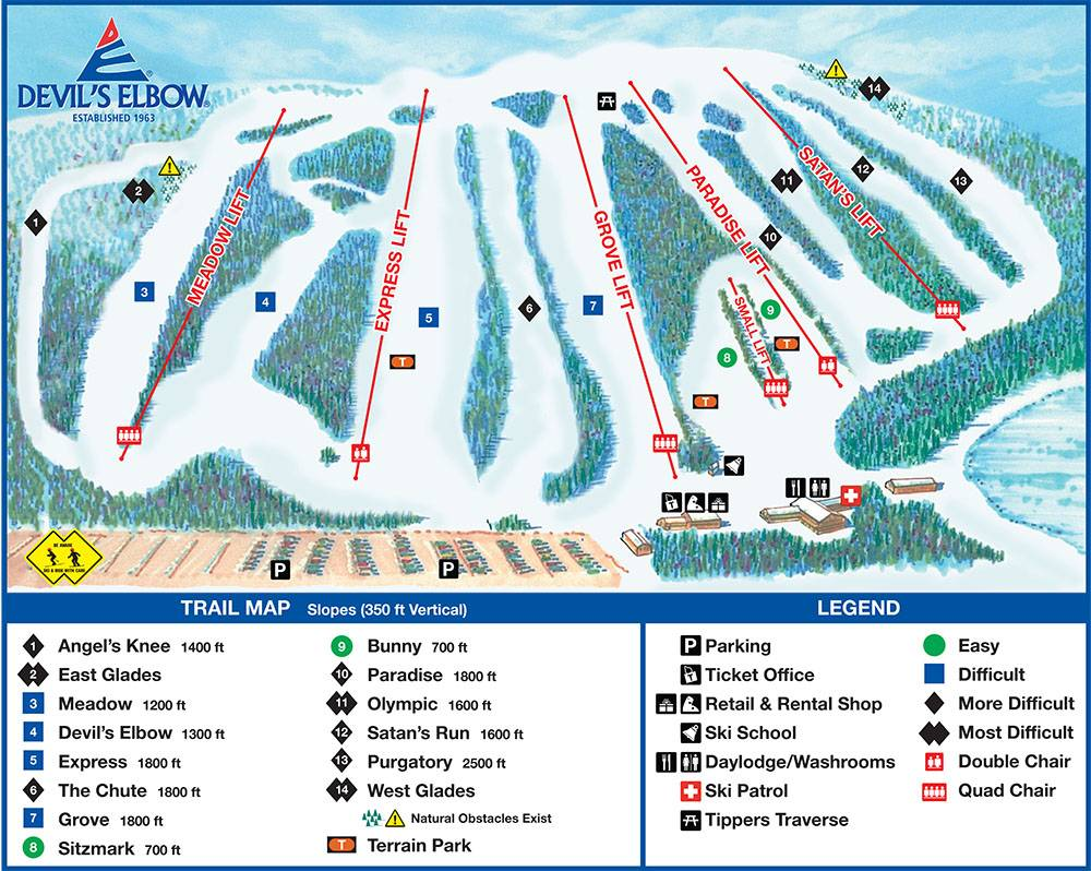 Trail map Devil's Elbow on