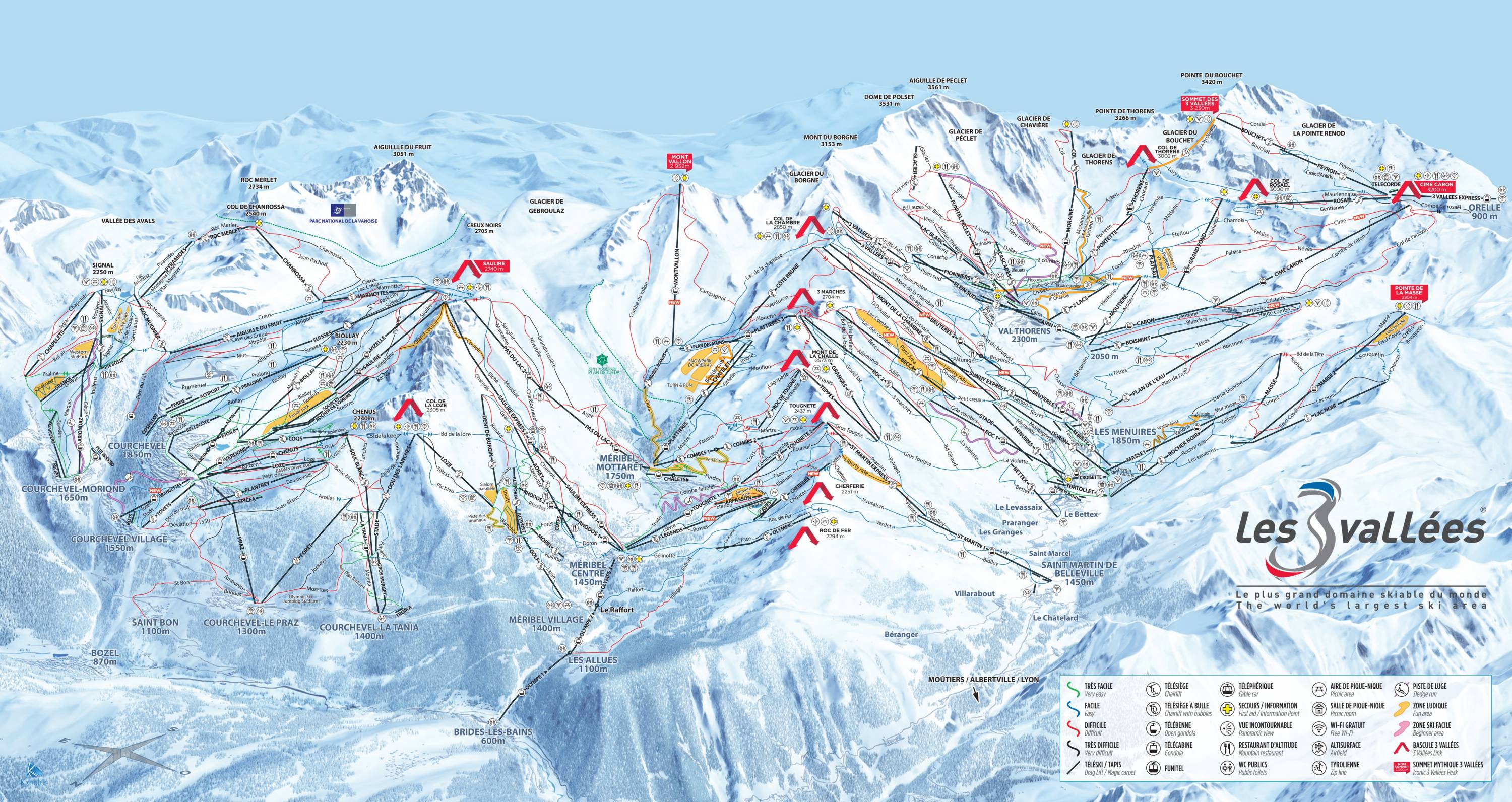Map 8f France.Trail Map Les 3 Vallees Val Thorens Les Menuires Meribel Courchevel