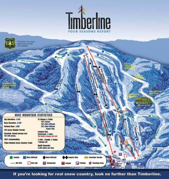 ski resorts virginia map Trail Map Timberline Four Seasons