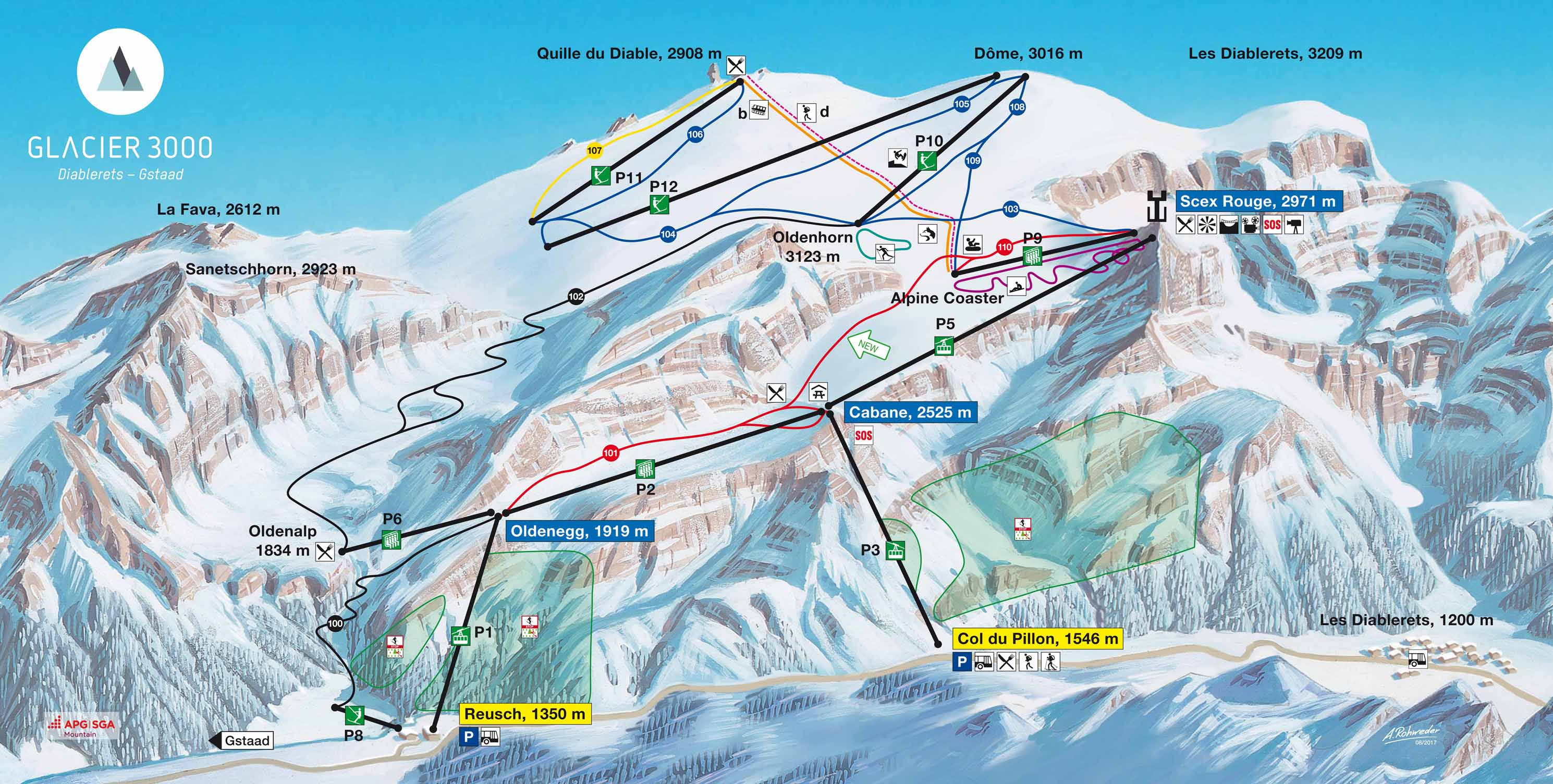 Trail map Glacier 3000 Les Diablerets