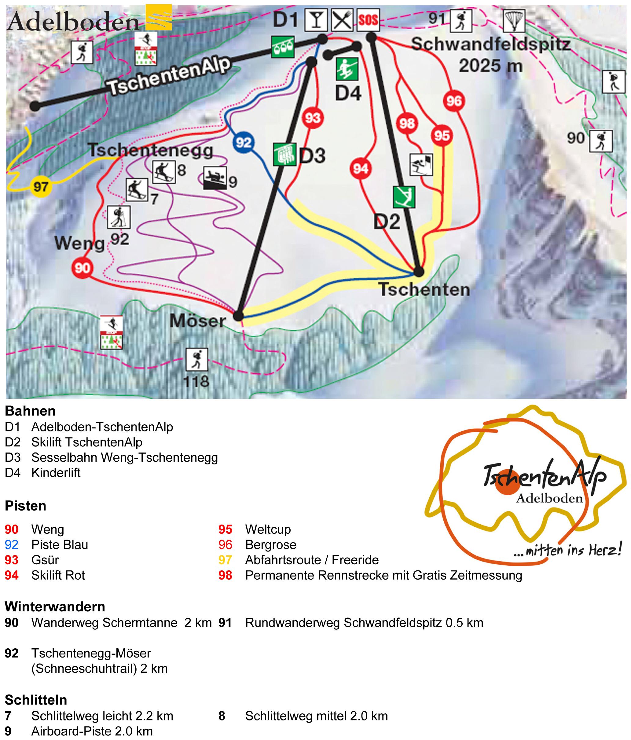 Trail map TschentenAlp Adelboden