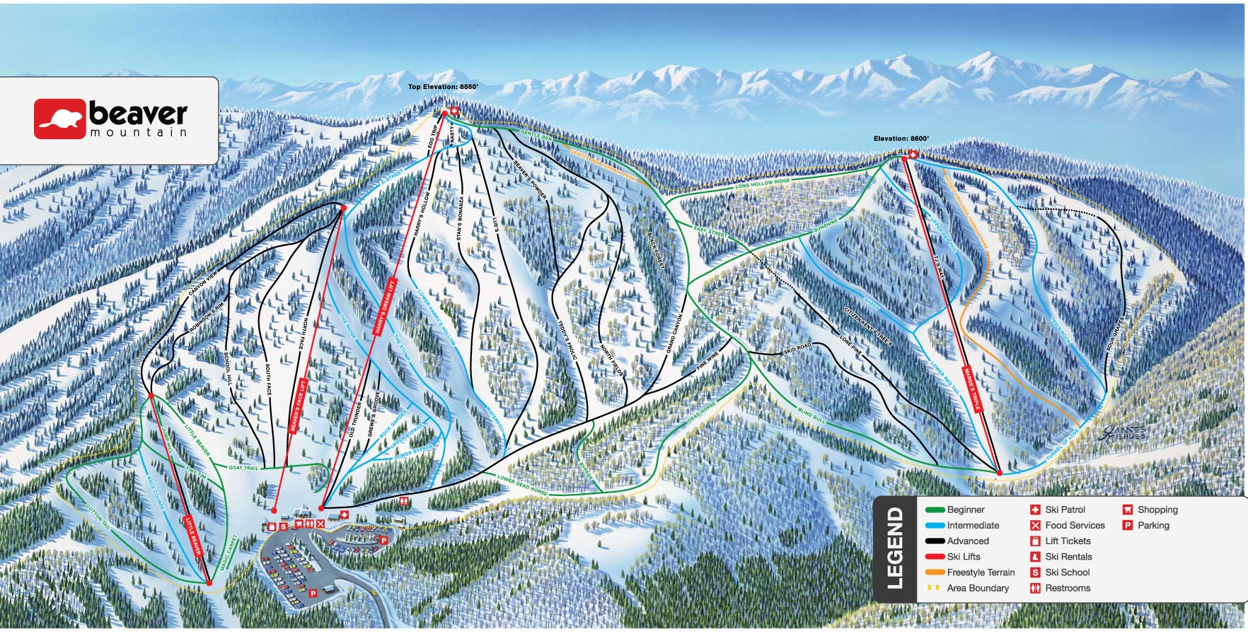 Ski Areas In Wyoming Map.Trail Map Beaver Mountain