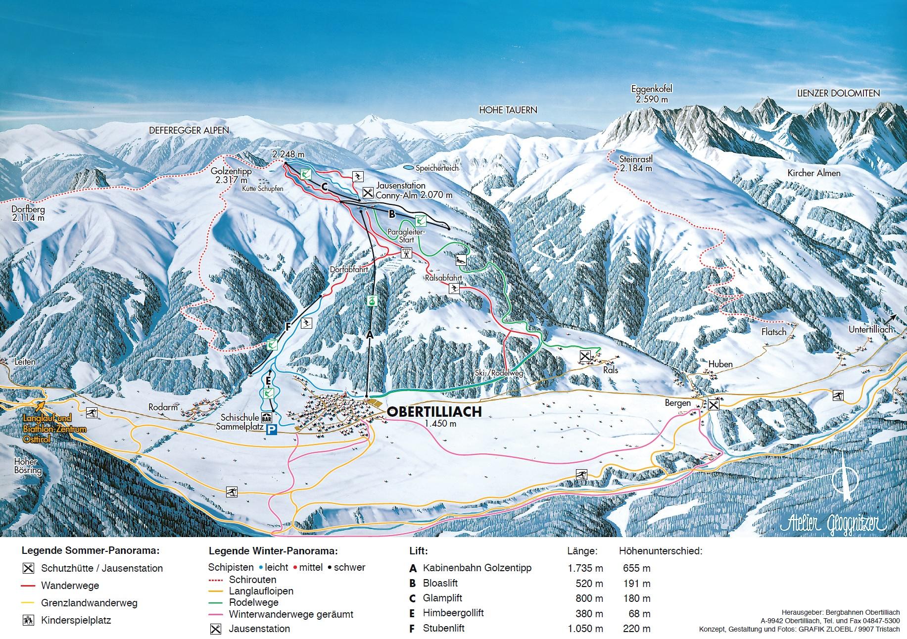 Ski Areas In Wyoming Map.Trail Map Obertilliach Golzentipp