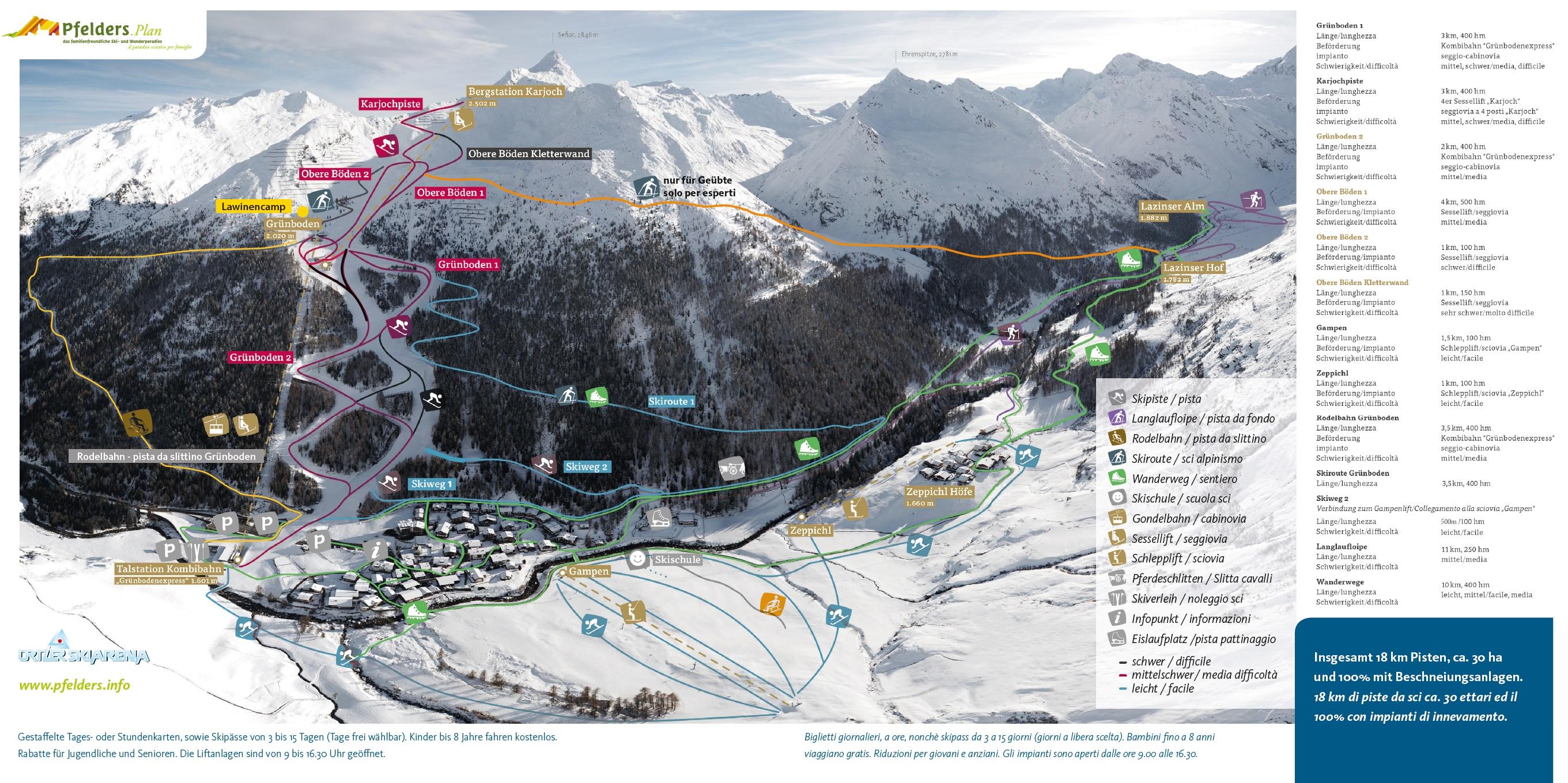 Trail map Pfelders Moos in Passeier