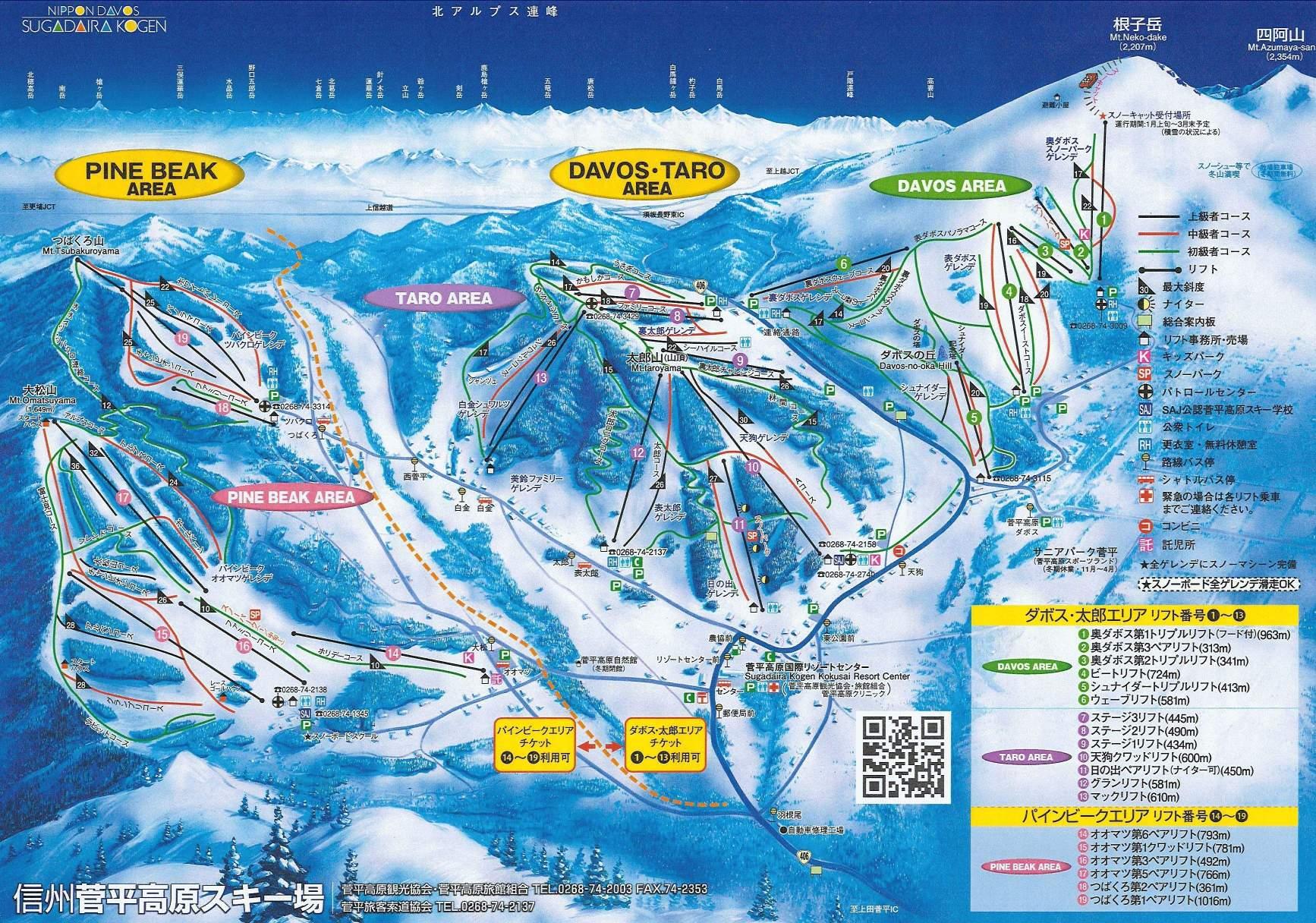 Trail map DavosTaro Sugadaira Kogen