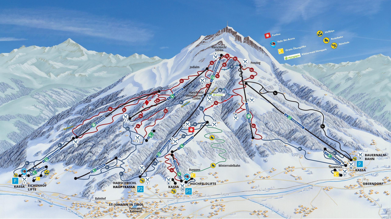 Tirol Italy Map.Trail Map St Johann In Tirol Oberndorf Harschbichl