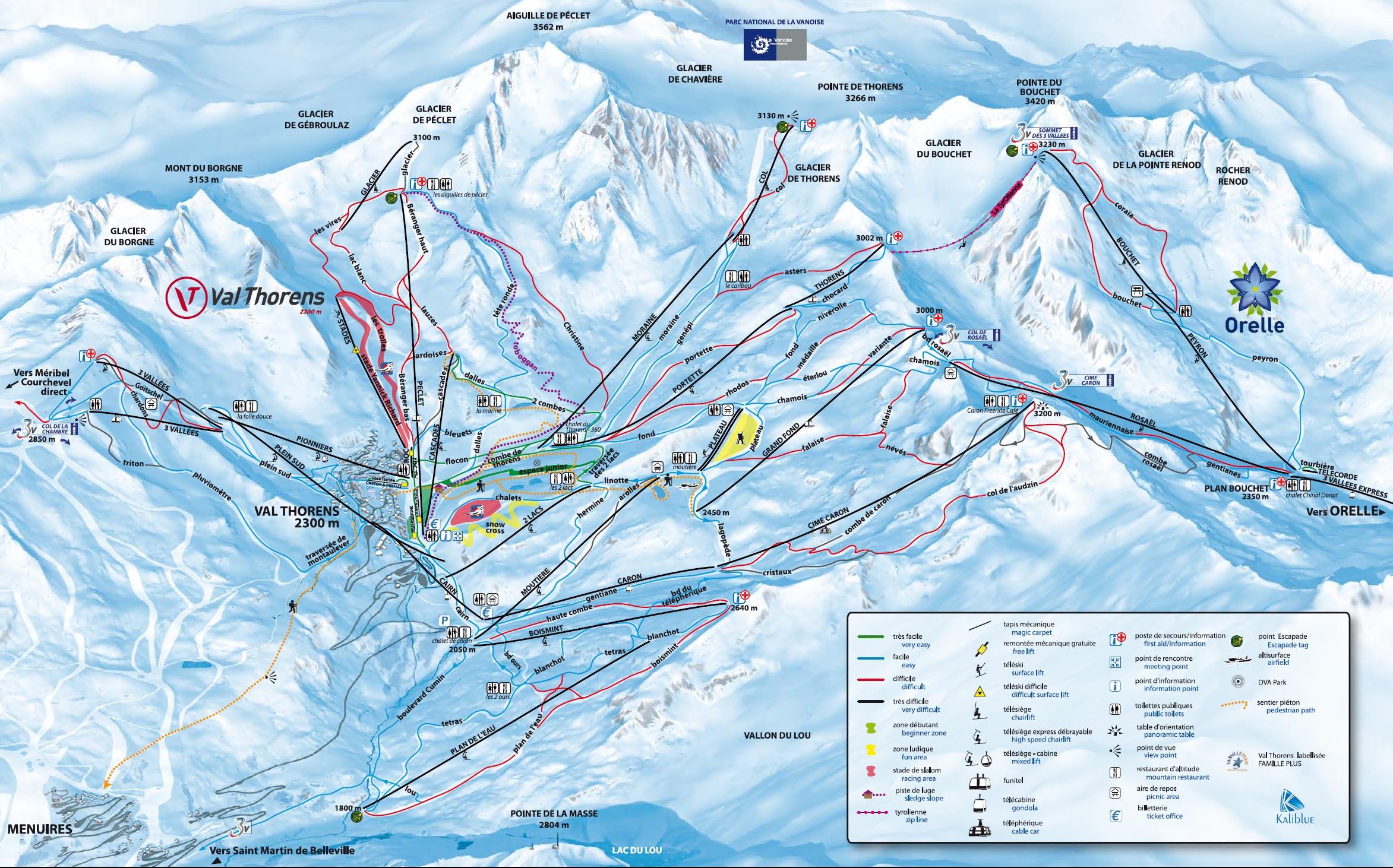 Trail map Les 3 Valles Val ThorensLes MenuiresMribelCourchevel